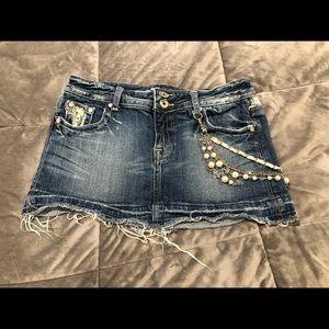 Miss Me Jeans Denim Mini Skirt